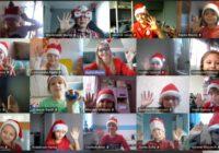 Kolaż zdjęć dzieci w czapkach Mikołaja