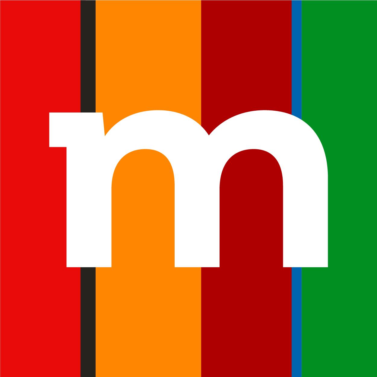 logo fundacji mbanku - kolorowe pasy z literą m na środku