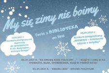 plakat z harmonogramem wydarzeń w ramach ferii zimowych w bibliotece