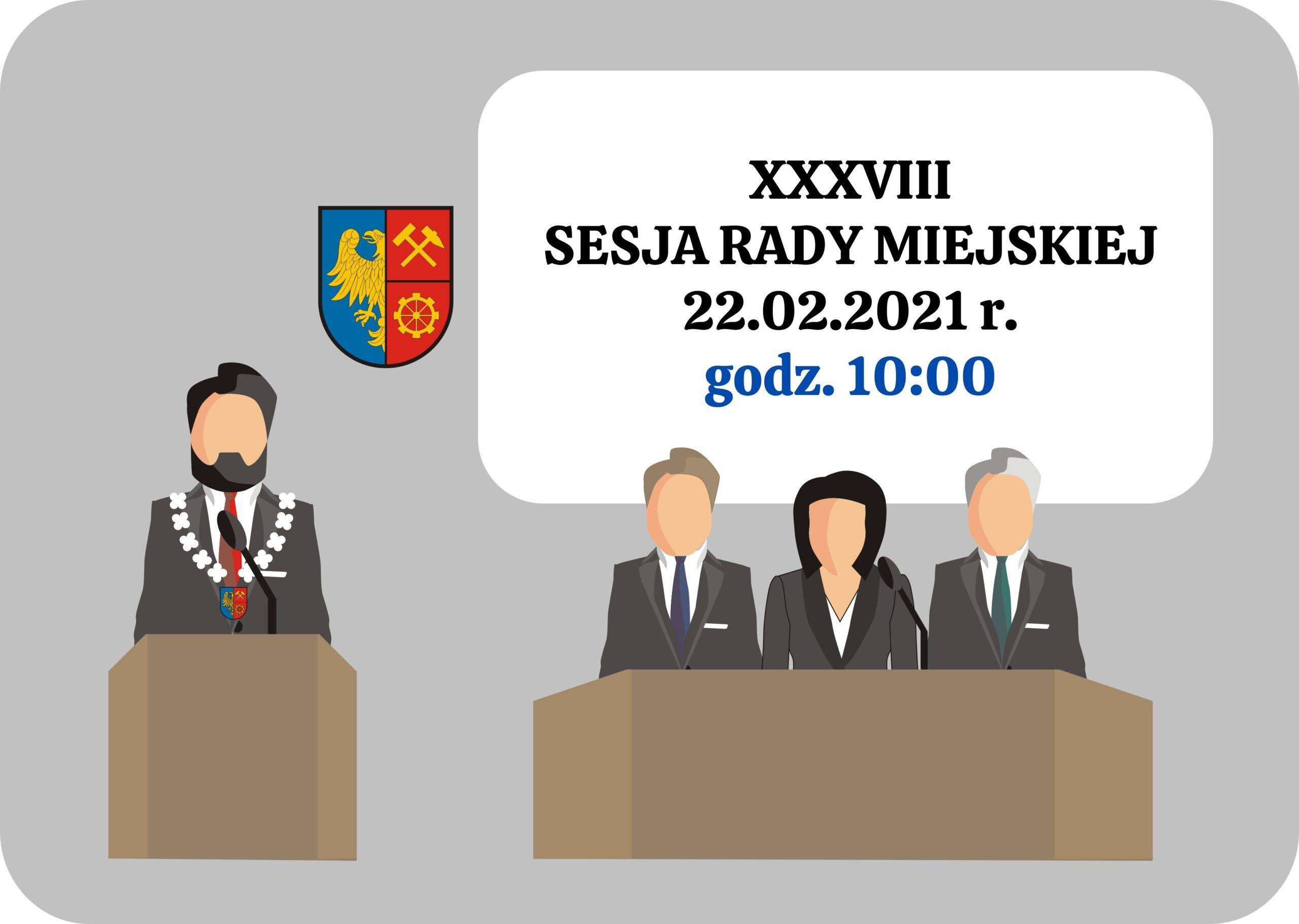 grafika zapraszająca do udziału w sesji Rady Miejskiej